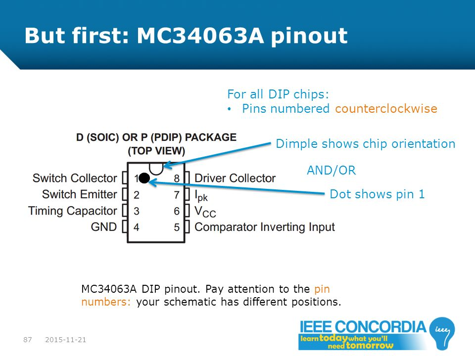 But first: MC34063A pinout For all DIP chips: