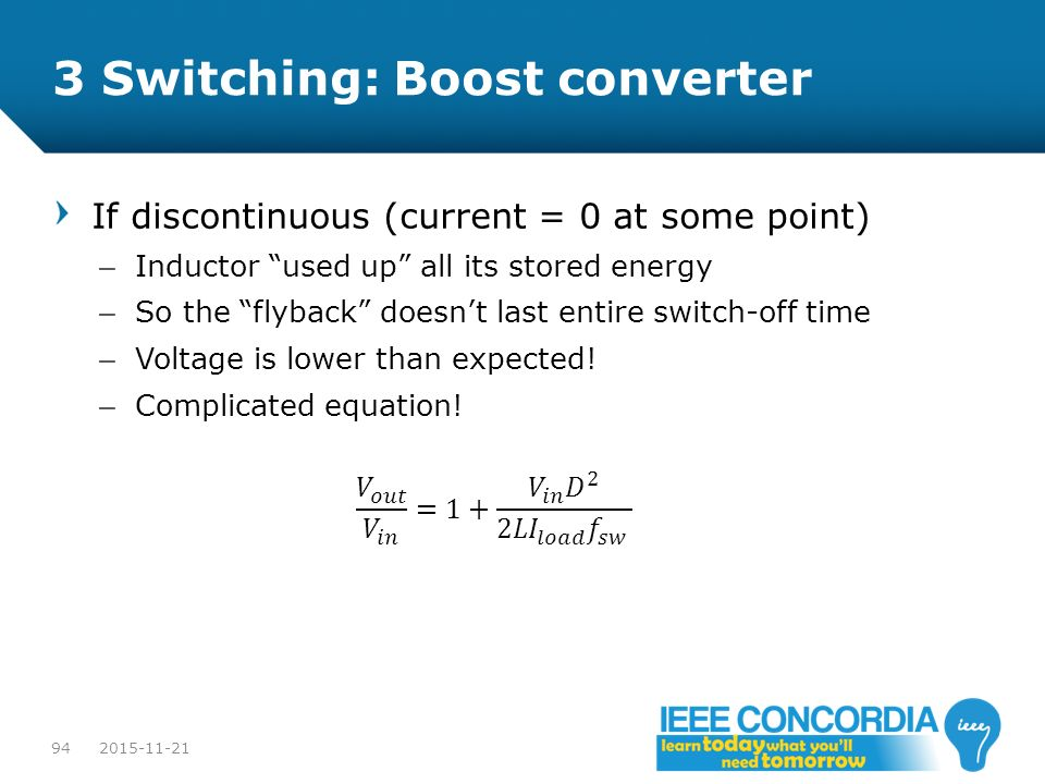 3 Switching: Boost converter