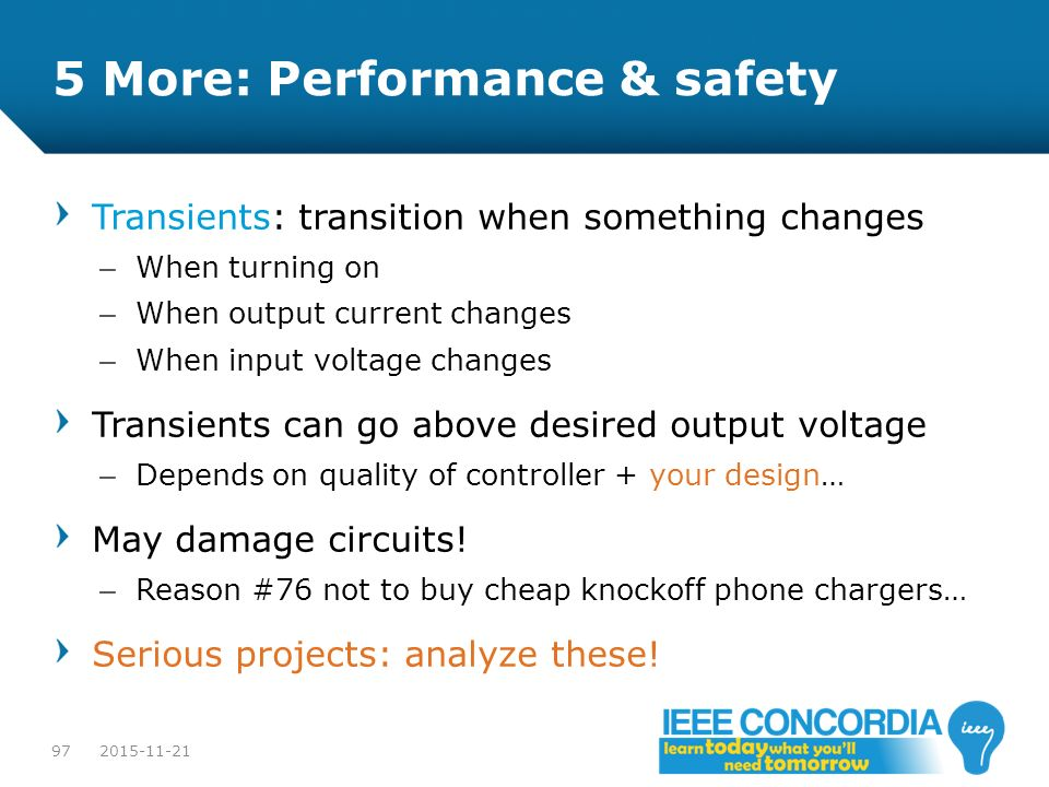 5 More: Performance & safety