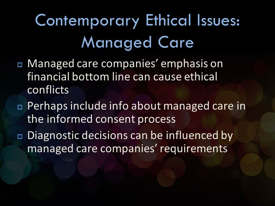 current ethical issues in health care management