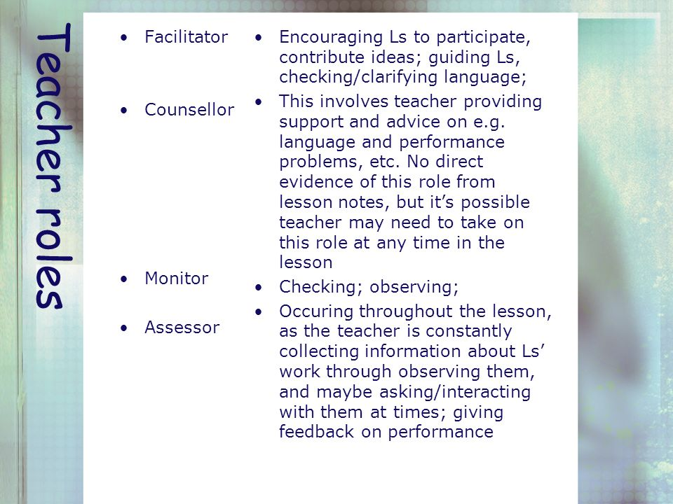 "teacher as a facilitator One last thing: this facilitator's guide is a ""living document"" it has been put  together in part with suggestions from mentor teachers and professors from."