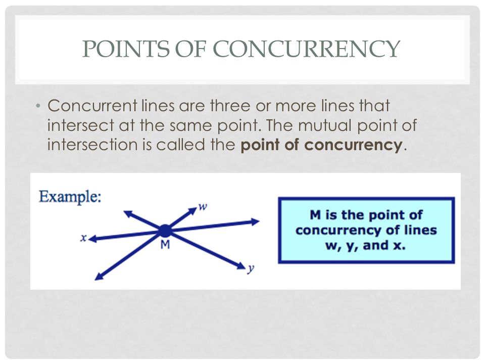 Points Of Concurrency Objectives To Identify Properties Of