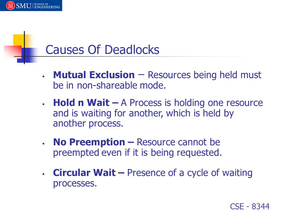 Causes Of Deadlocks Mutual Exclusion – Resources being held must be in non-shareable mode.