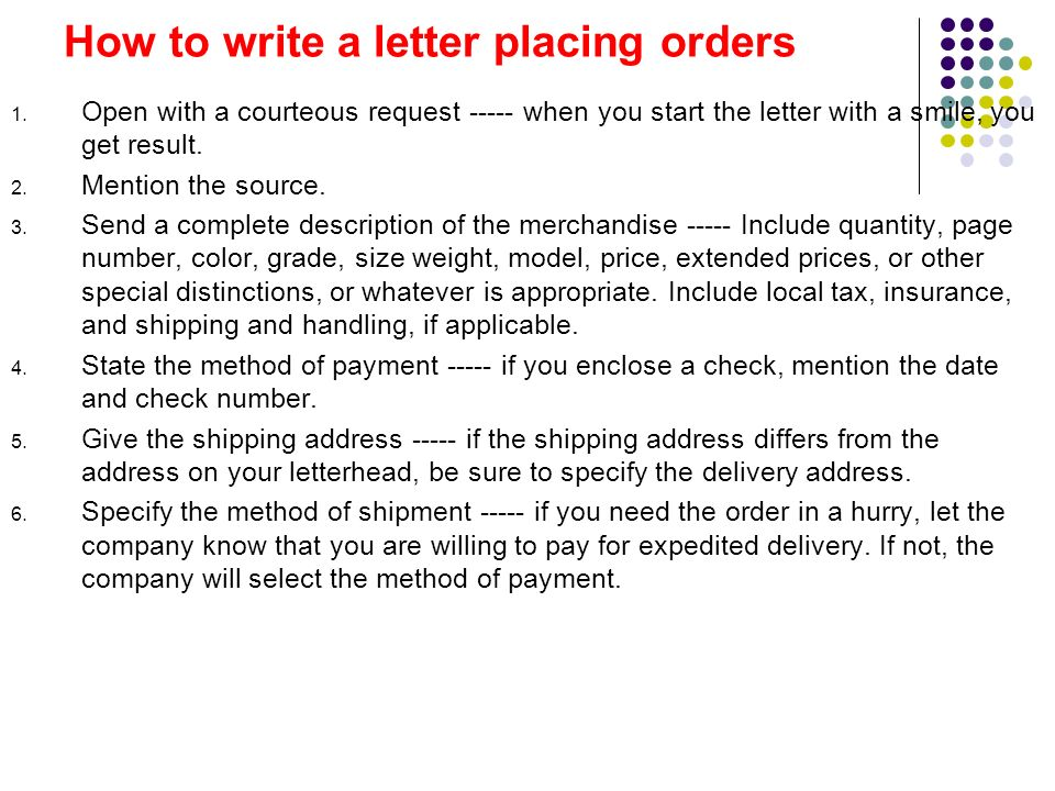 how to write a business letter for placing an order How to write a business letter with a sample format and examples of phrases you  should use.