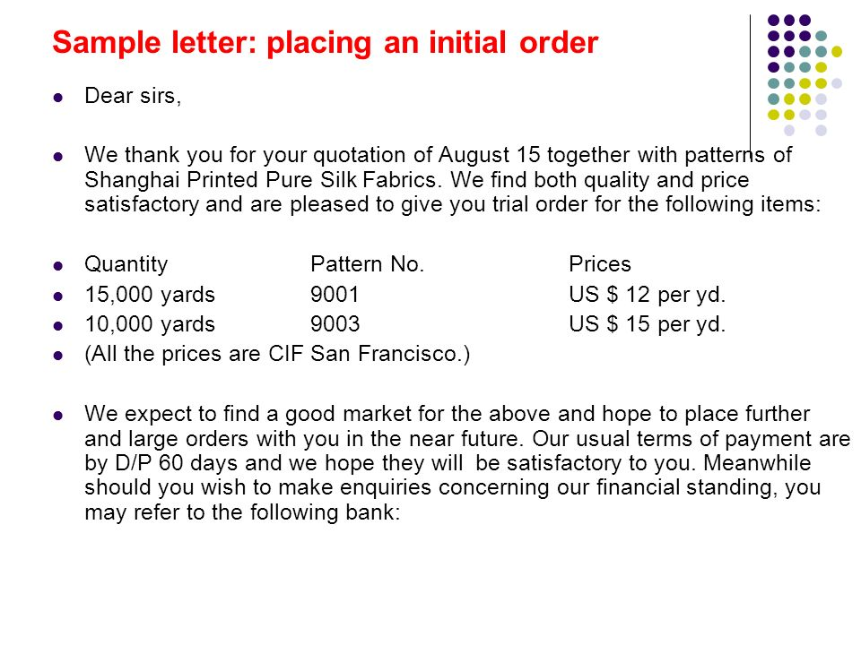 Sample Letter Of Reply Quotation. 5 Sample  Orders and executing orders ppt download
