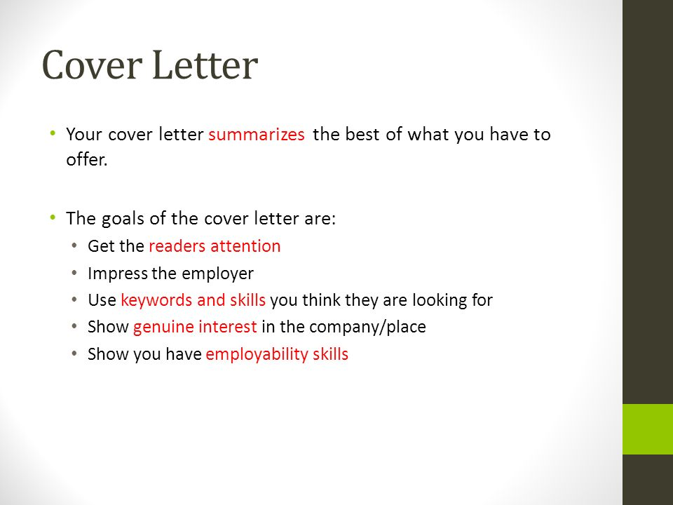 keywords to use in a cover letter