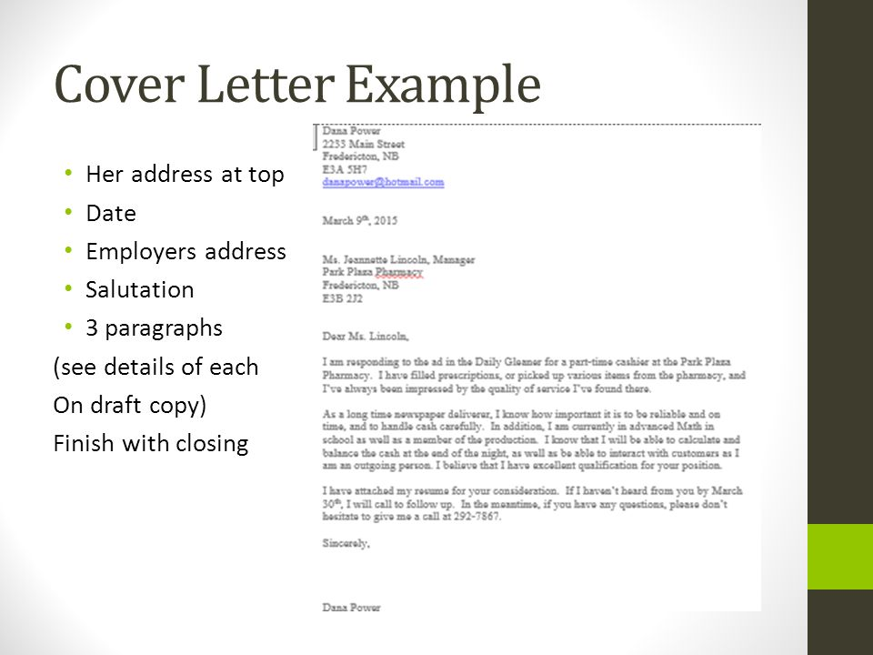 Cover letter to resume example