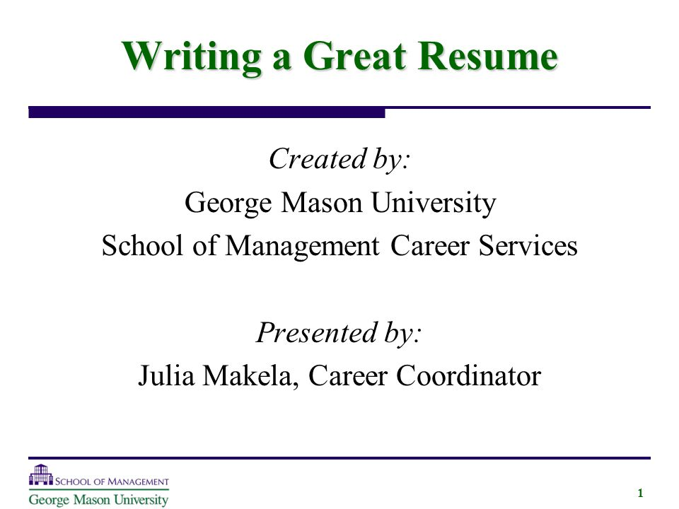 writing a great resume created by george mason university
