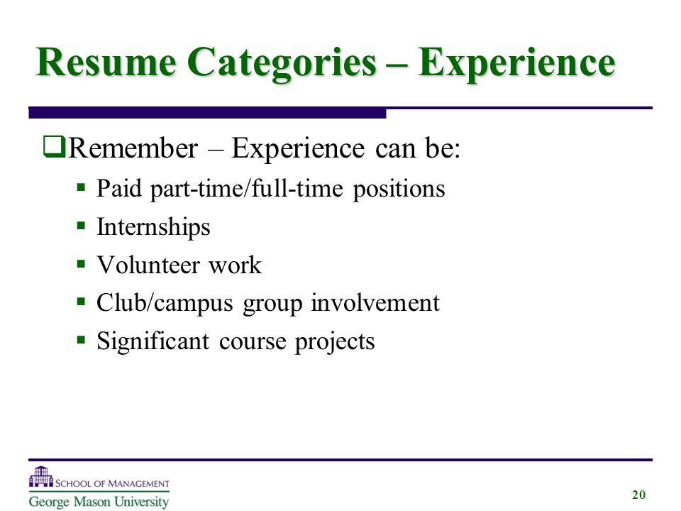 resume categories volunteer resume categories list what are four