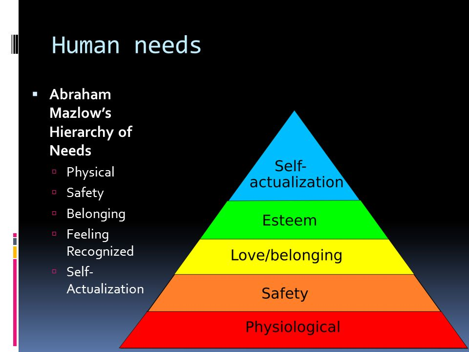 Human needs Abraham Mazlow's Hierarchy of Needs Physical Safety
