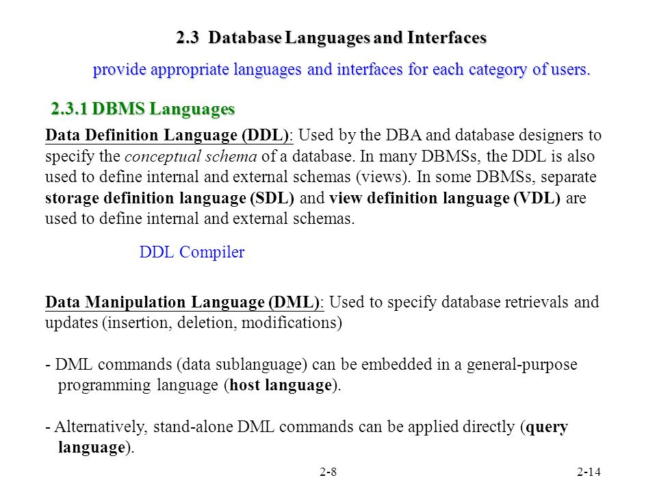 2 3 Database Languages And Interfaces