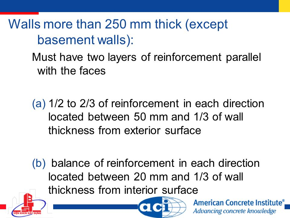 16 Walls More Than 250 Mm Thick (except Basement ...