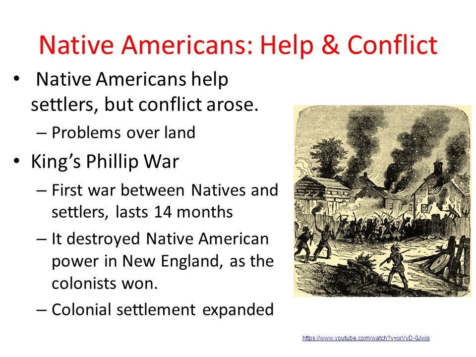 native american and white settlers conflict Conflict between the native americans and the first english settlers started when the englishmen first arrived at cape henry, at the mouth of chesapeake bay, in 1607.