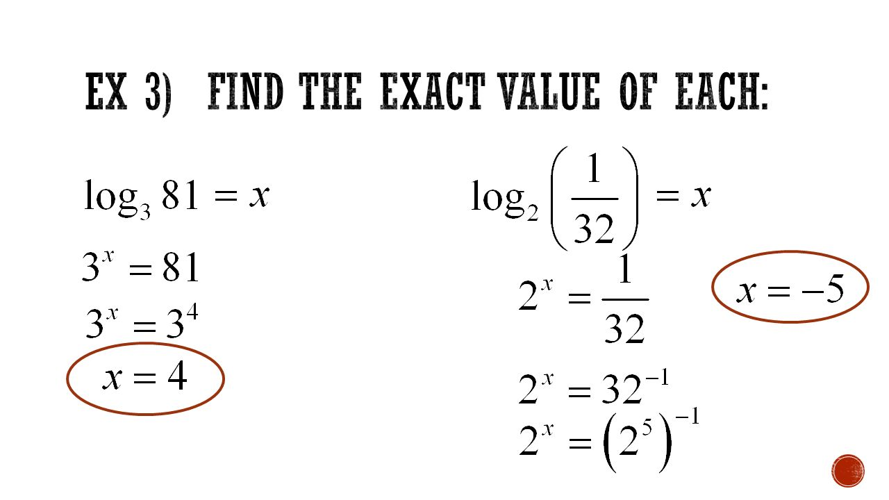 43 logarithmic functions ppt video online download 5 ex 3 find the exact value of each ccuart Image collections