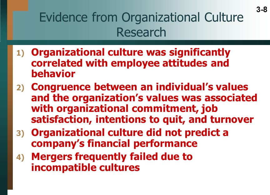 organizational culture and performance evidence This paper explores the relationship between organizational culture and the performance of managers in the restaurant industry we also introduce the managers' job.
