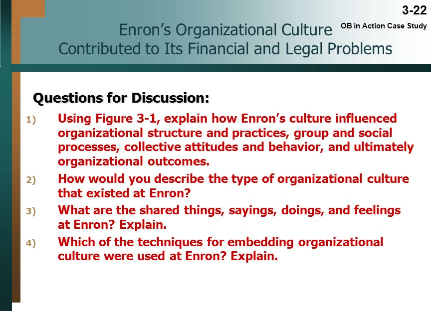 enron case study questions Enron case study powerpoint - authorstream presentation leadership : leadership abused power, acted unethically and believed they were invincible eventually uncovering willful corporate and accounting fraud.