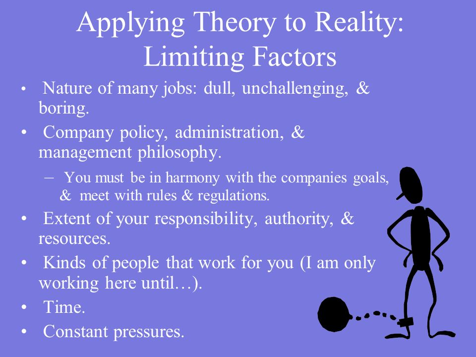 Applying Theory to Reality: Limiting Factors
