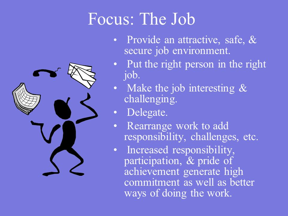 Focus: The Job Put the right person in the right job.