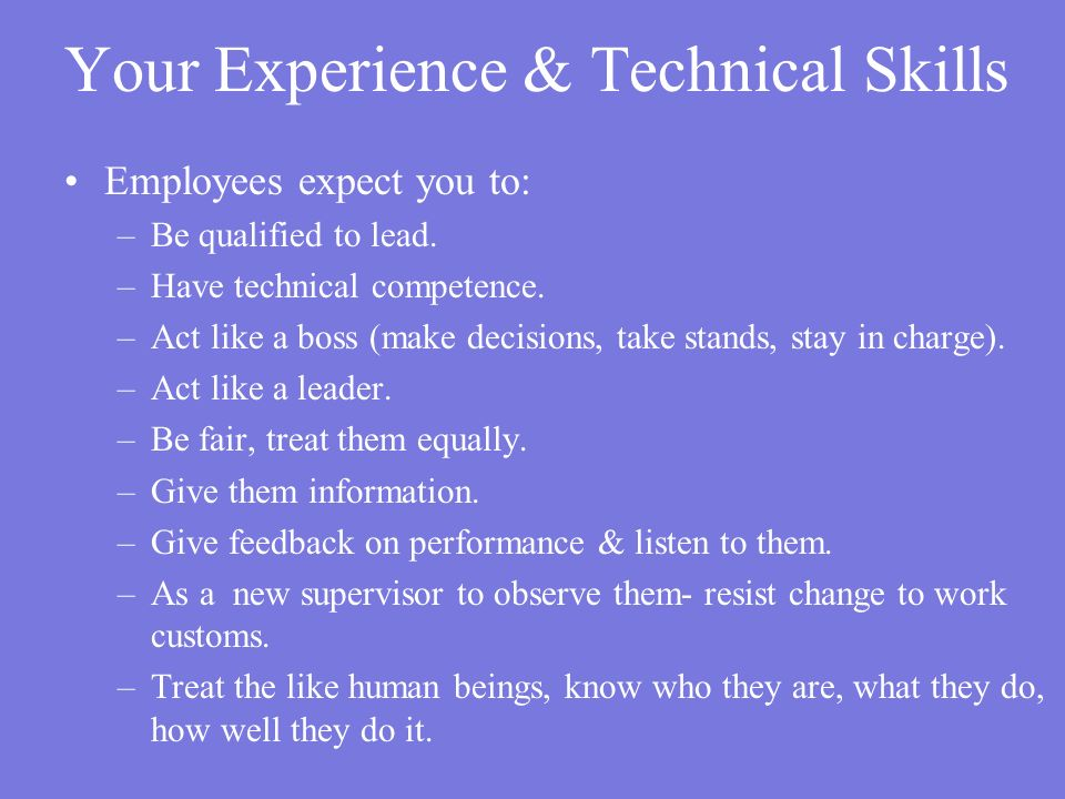 Your Experience & Technical Skills