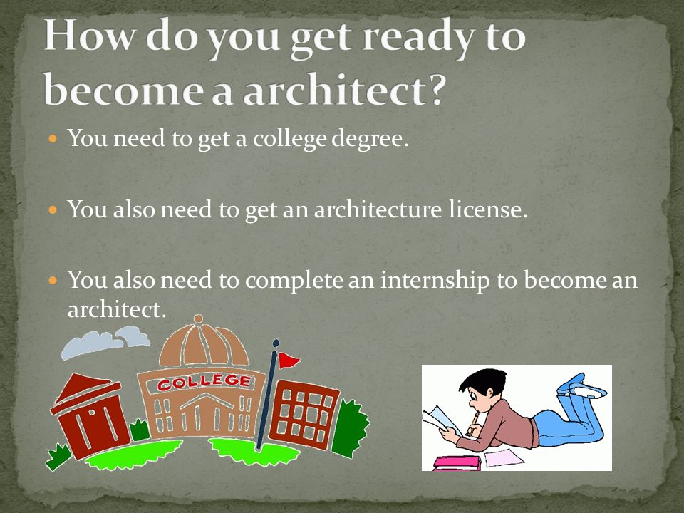 How do you get ready to become a architect