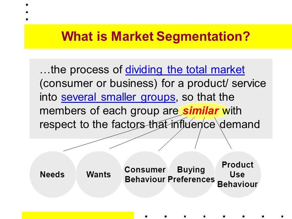 market segmentation use related segmentation Reasons to use market segmentation reasons why firms segment markets there are many reasons why firms identify market segments, as outlined in the following table.