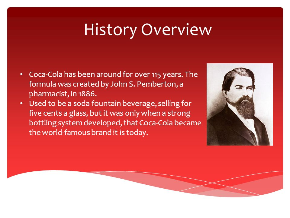 an introduction to the history of coca cola Invented by john stith pemberton in 1886, coca-cola was meant as a drink to impart good health and stamina.