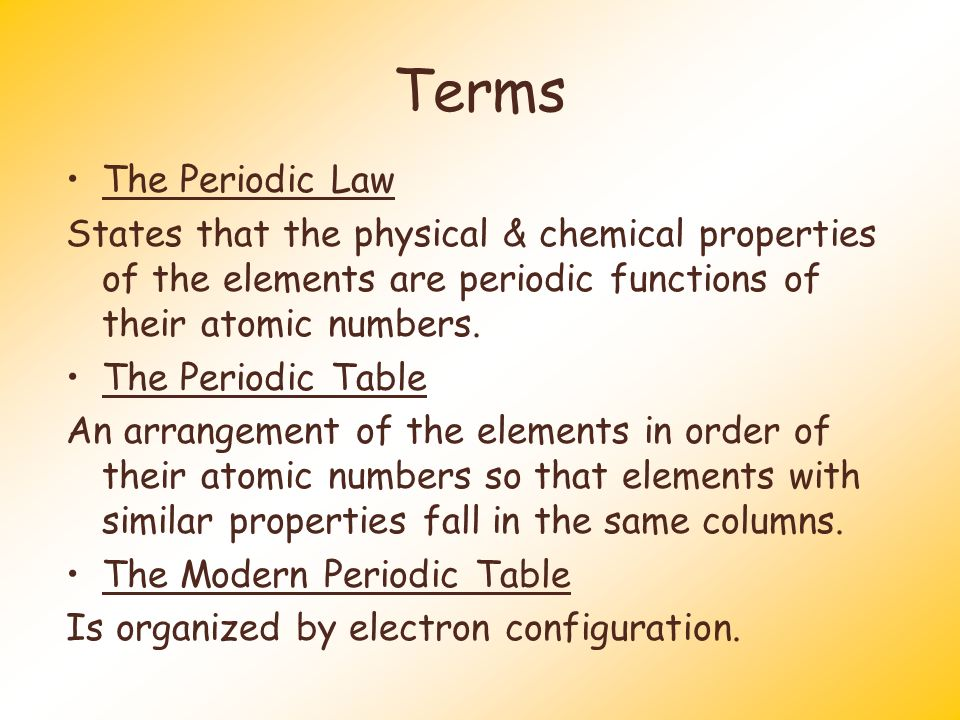 "an analysis of periodic functions of their atomic numbers The modern periodic law  periodic table chemistry  ""the physical and chemical properties of the elements are periodic functions of their atomic numbers."