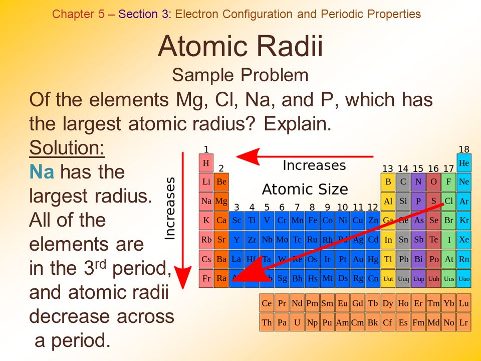 Periodic table chapter 5 ppt video online download 36 atomic radii sample problem urtaz Image collections