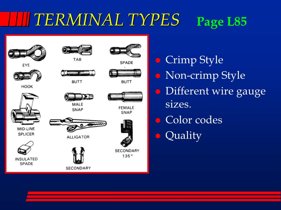 TERMINAL+TYPES+Page+L85+Crimp+Style+Non crimp+Style wire repair chapter ppt download 1980 Jeep CJ7 Wiring Harness Terminals at panicattacktreatment.co