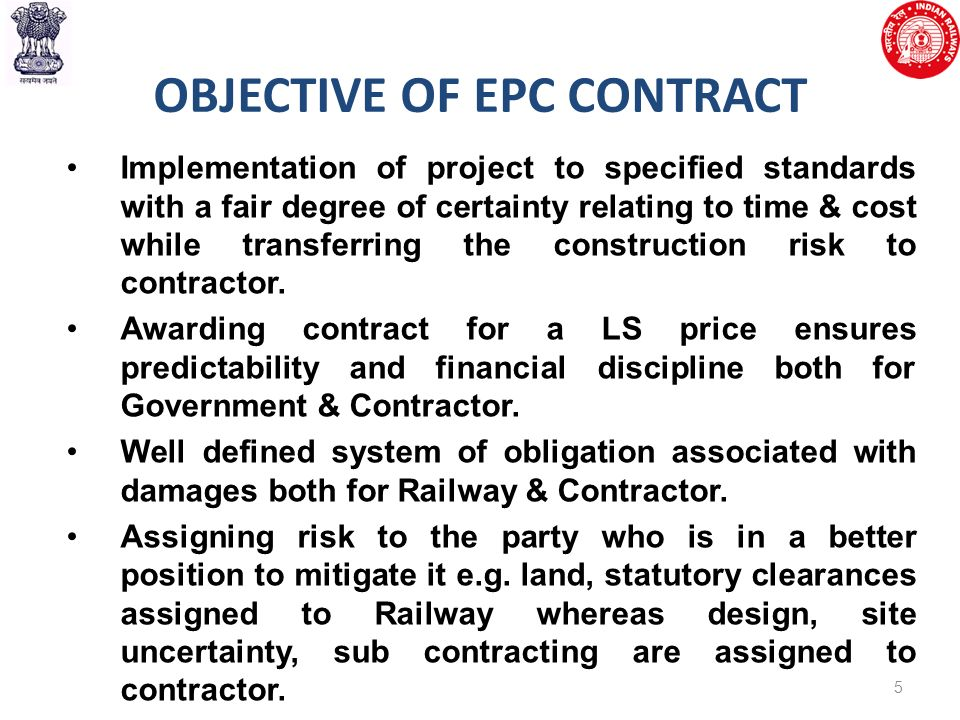 Introduction Of Epc Mode Of Contracting In Railways Ppt