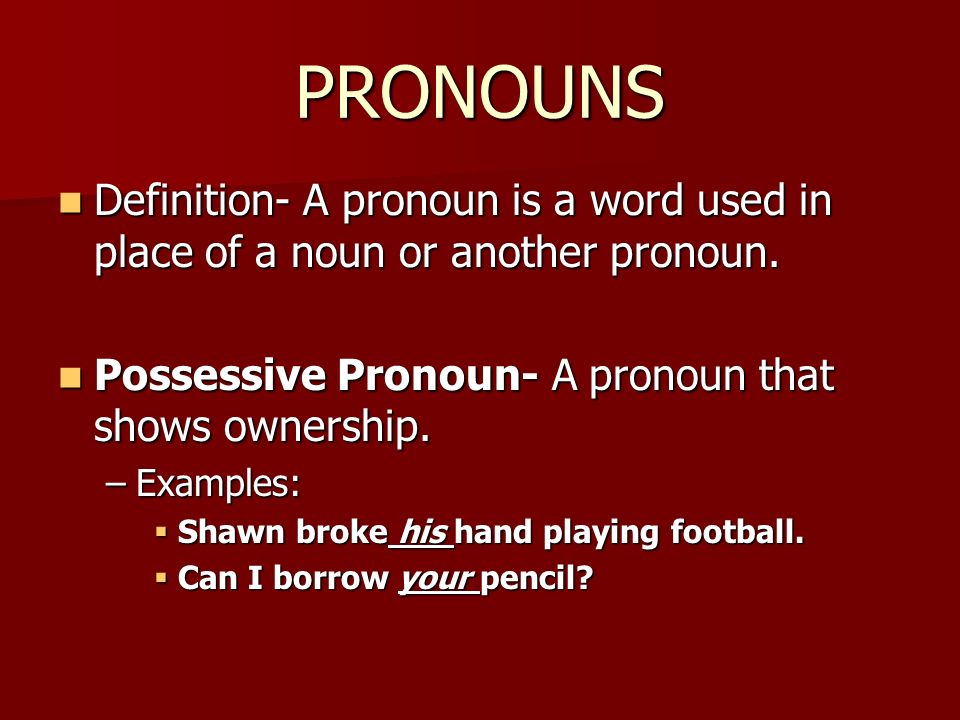 Chapter 1 Notes Section 1 Nouns Section 2 Pronouns