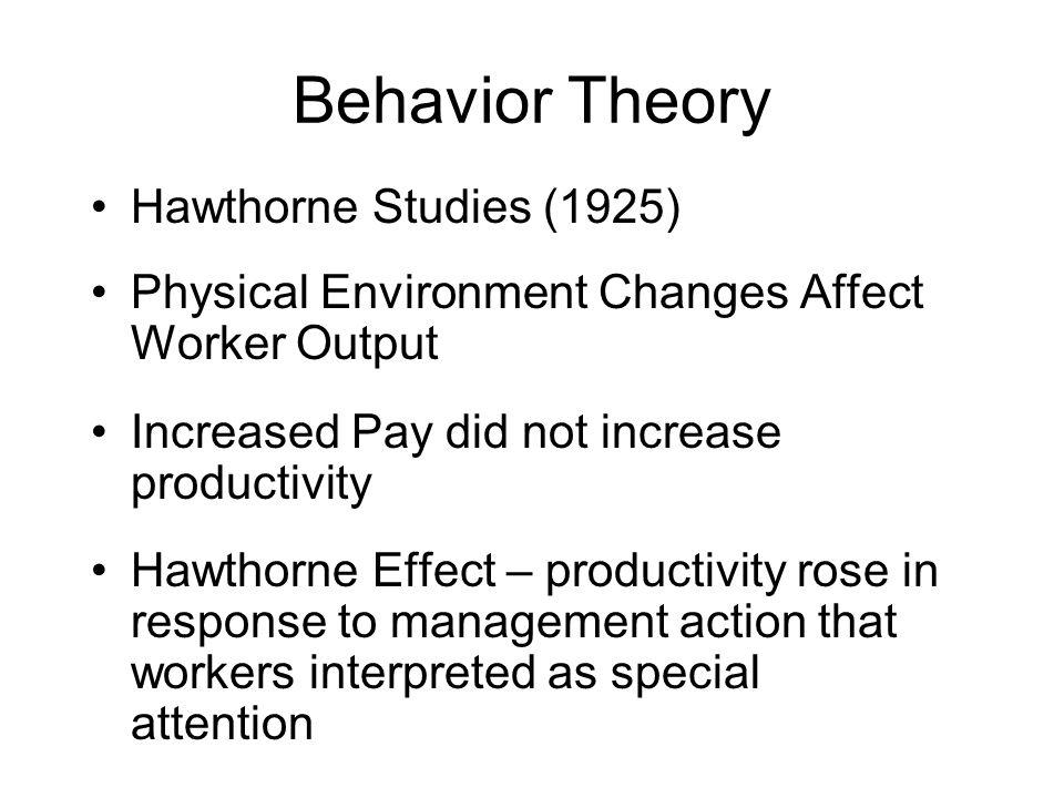 Behavior Theory Hawthorne Studies (1925)