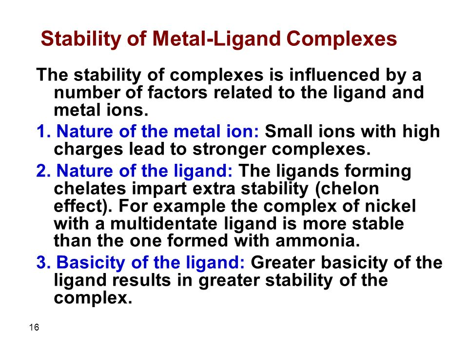 Stability Of Metal Complexes - Www imagez co