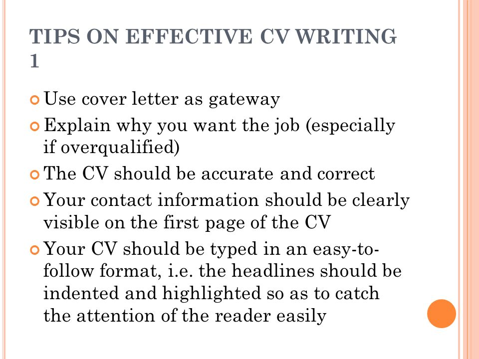 How to design an effective cv ppt video online download for Tips for writing cover letters effectively