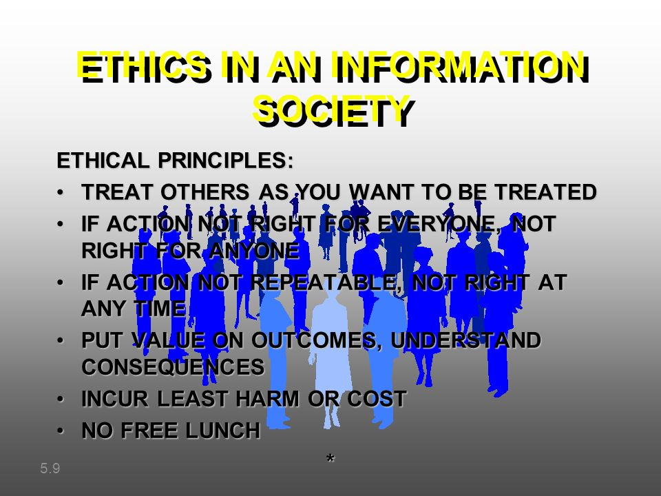 ethics in information society Systems chapter 4: ethical and social issues in information systems • – — – • – •—.