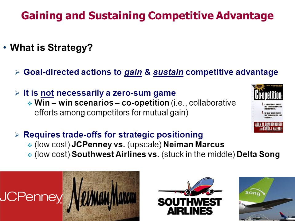 strategies to sustain competitive advantage The purpose of this unit is to integrate all the knowledge acquired during the mba  studies in order to develop innovative business strategies capable of.