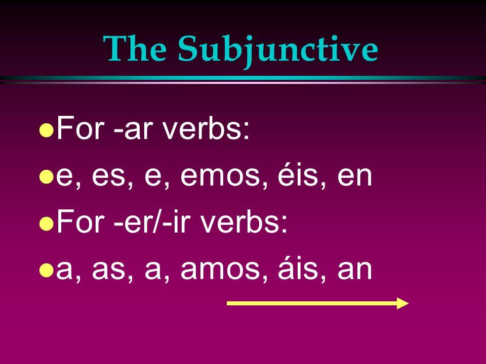 The Subjunctive For -ar verbs: e, es, e, emos, éis, en