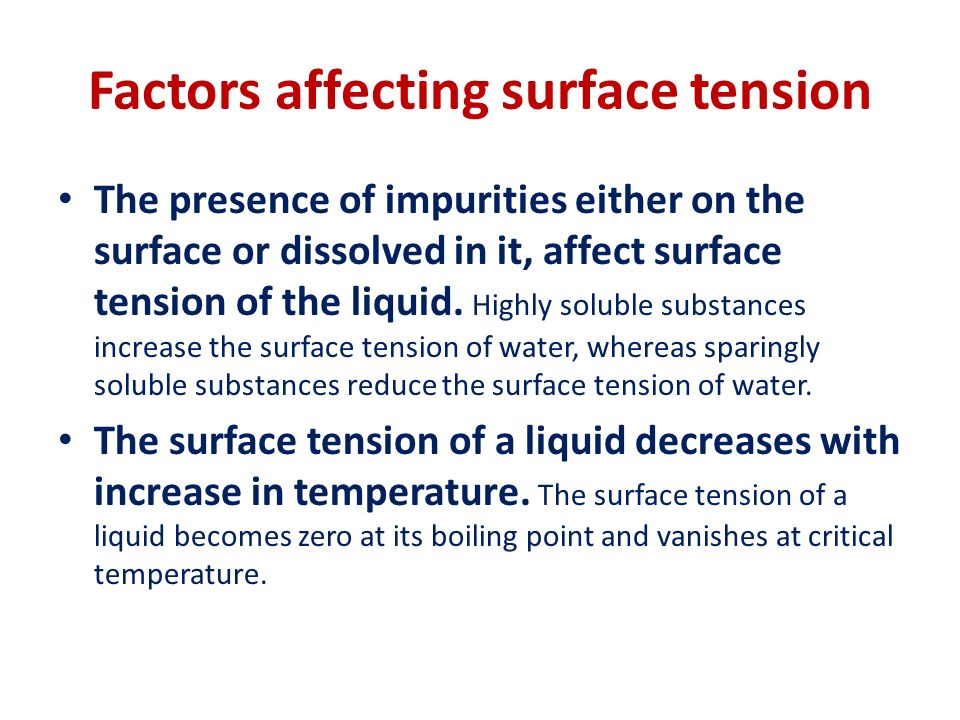 Detergents, soaps and surface tension