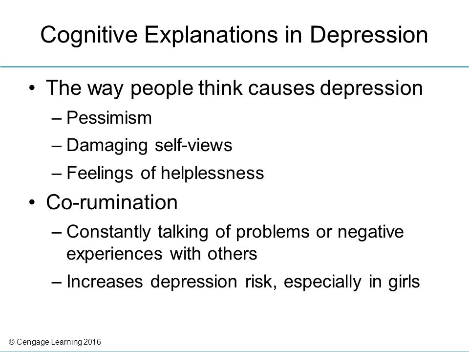 two explanations of depression Extracts from this document introduction compare and contrast two explanations of depression there are two types of depression, bipolar and unipolar both of which effect mood of the patient.