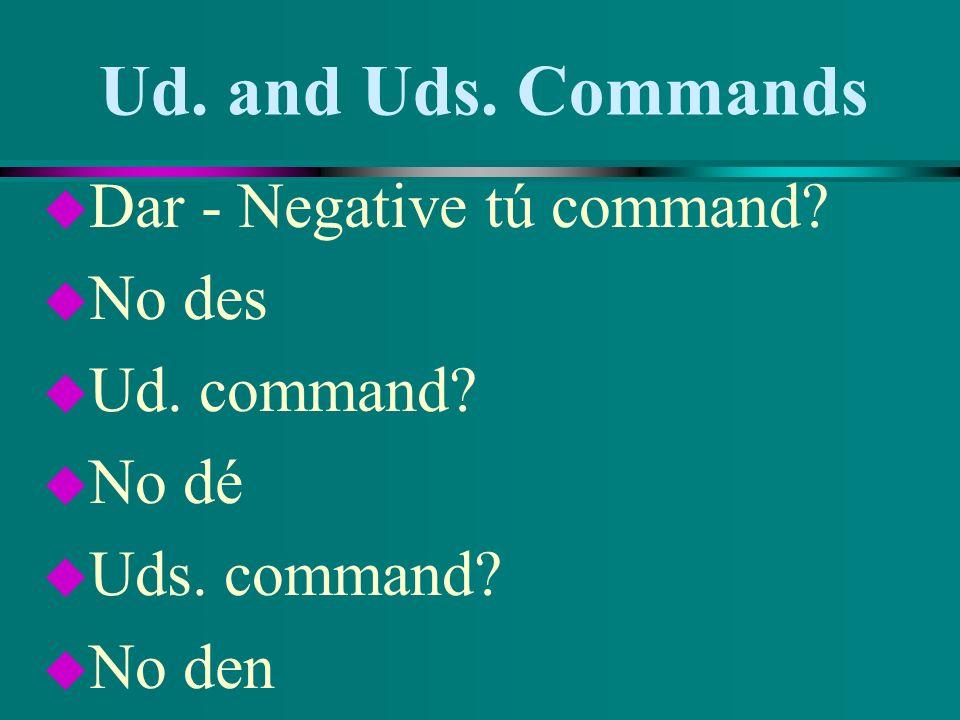 Ud. and Uds. Commands Dar - Negative tú command No des Ud. command