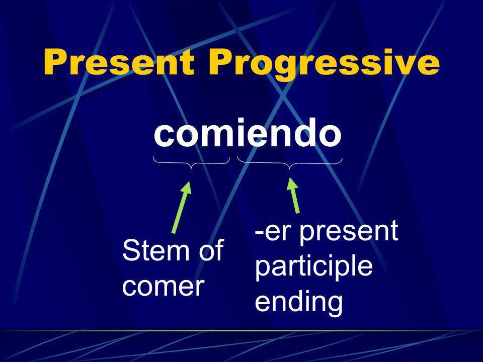 comiendo Present Progressive -er present participle Stem of ending