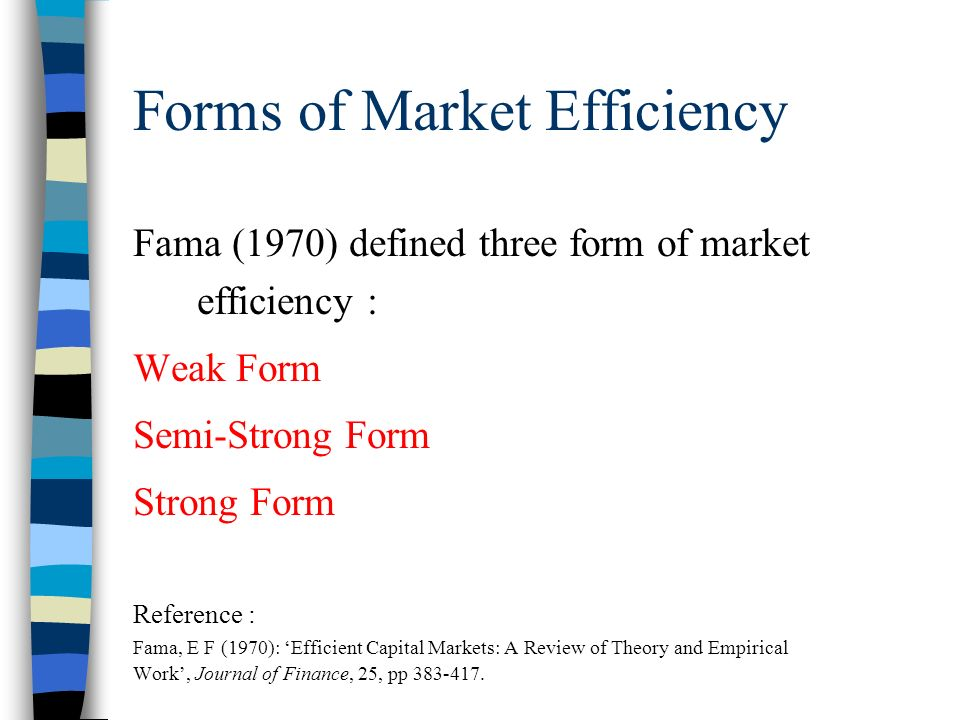 the semi strong form of Efficient market hypothesis - definition for efficient market hypothesis from morningstar - a market theory that evolved from a 1960's phd dissertation by eugene fama, the efficient market hypothesis states that at any given time and in a liquid market, security prices fully reflect all available information.