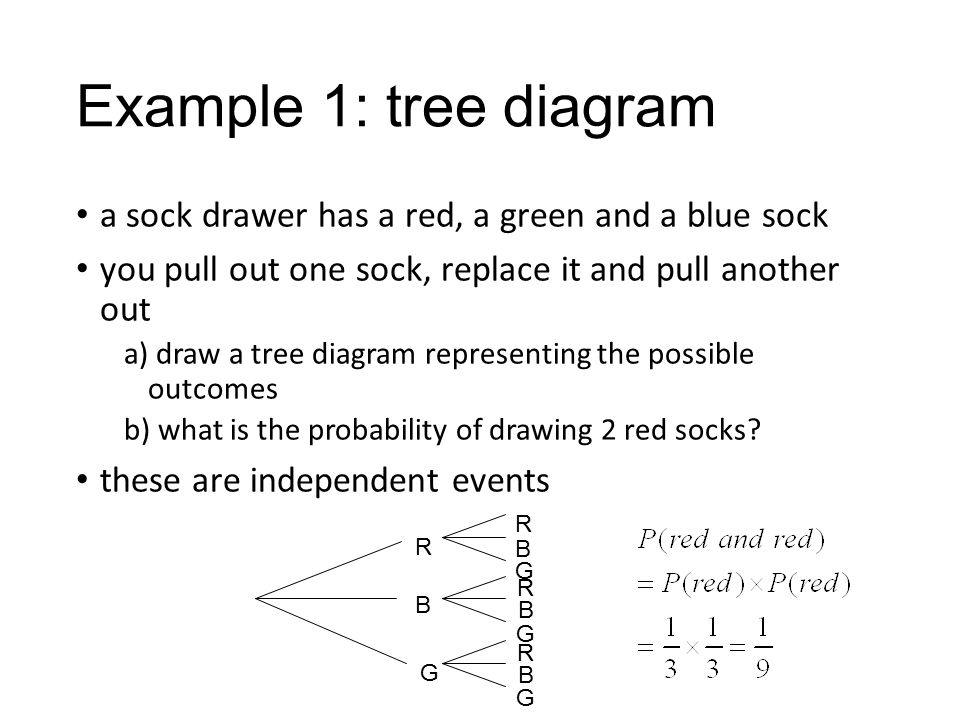 Finding probability using tree diagrams and outcome tables ppt example 1 tree diagram a sock drawer has a red a green and a ccuart Gallery