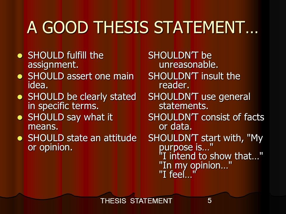 the opinion in a thesis statement should always be Now that you've reviewed thesis statement basics, let's look at the examples in this post, i've provided 30 persuasive essay topics and corresponding persuasive thesis statement examples i've also included links to example essays to provide a bit of writing inspiration.