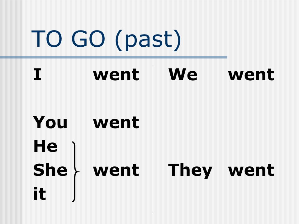 TO GO (past) I went You went He She went it We went They went