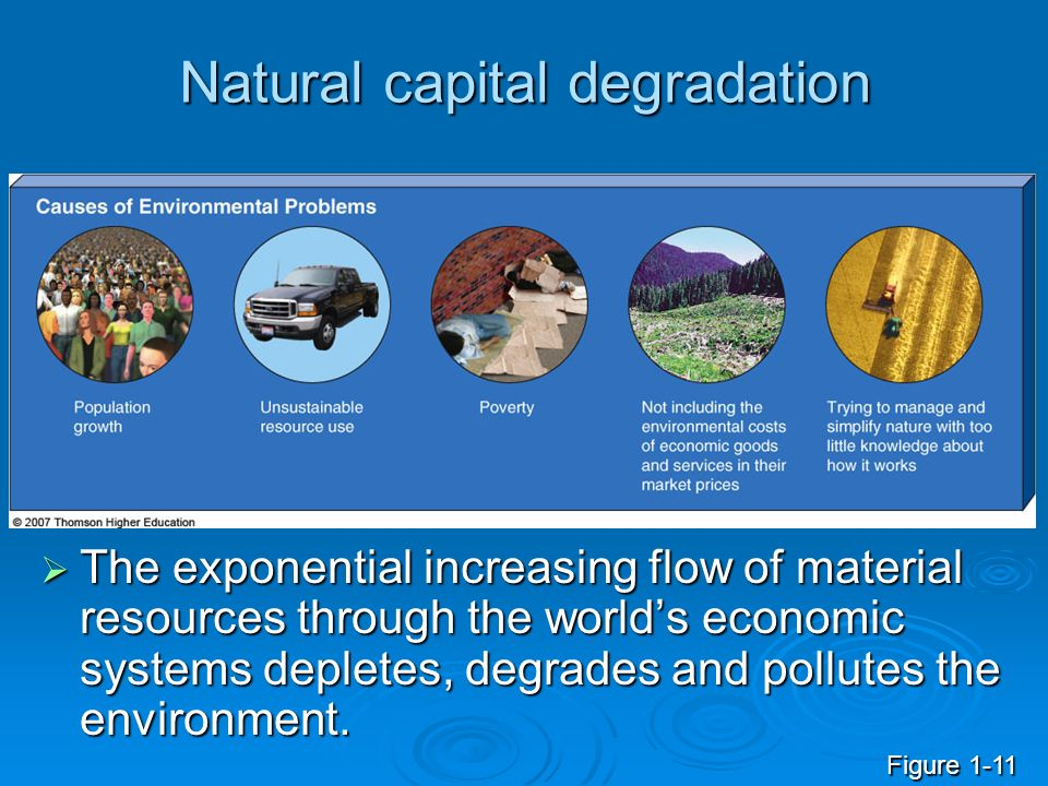 cause and solution of environmental degradation The predominant school of thought argues that poverty is a major cause of environmental degradation and if policy makers want to address environmental issues, then they must first address the poverty problem.