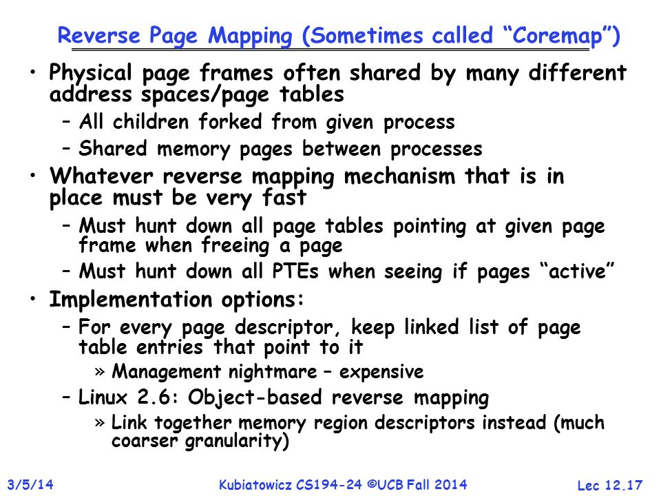 Reverse Page Mapping (Sometimes called Coremap )