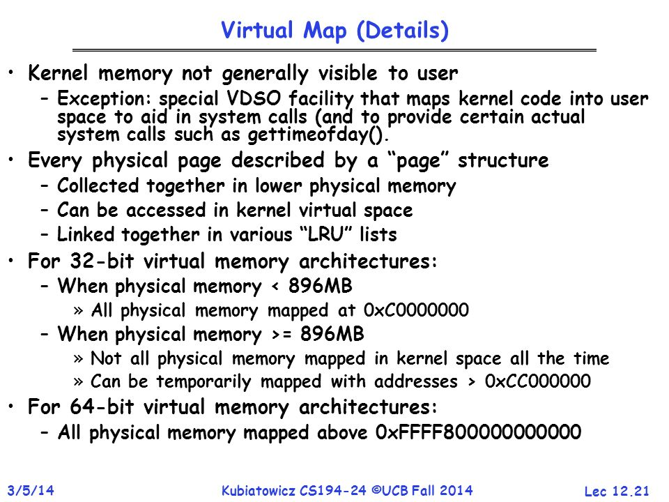 Virtual Map (Details) Kernel memory not generally visible to user