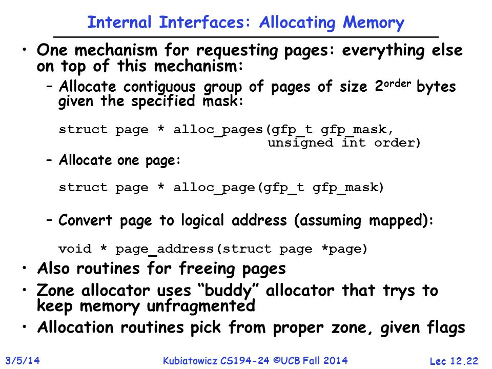 Internal Interfaces: Allocating Memory