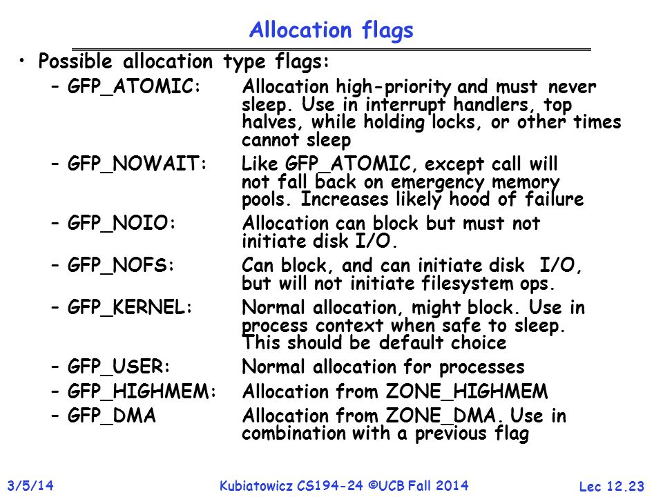 Allocation flags Possible allocation type flags: